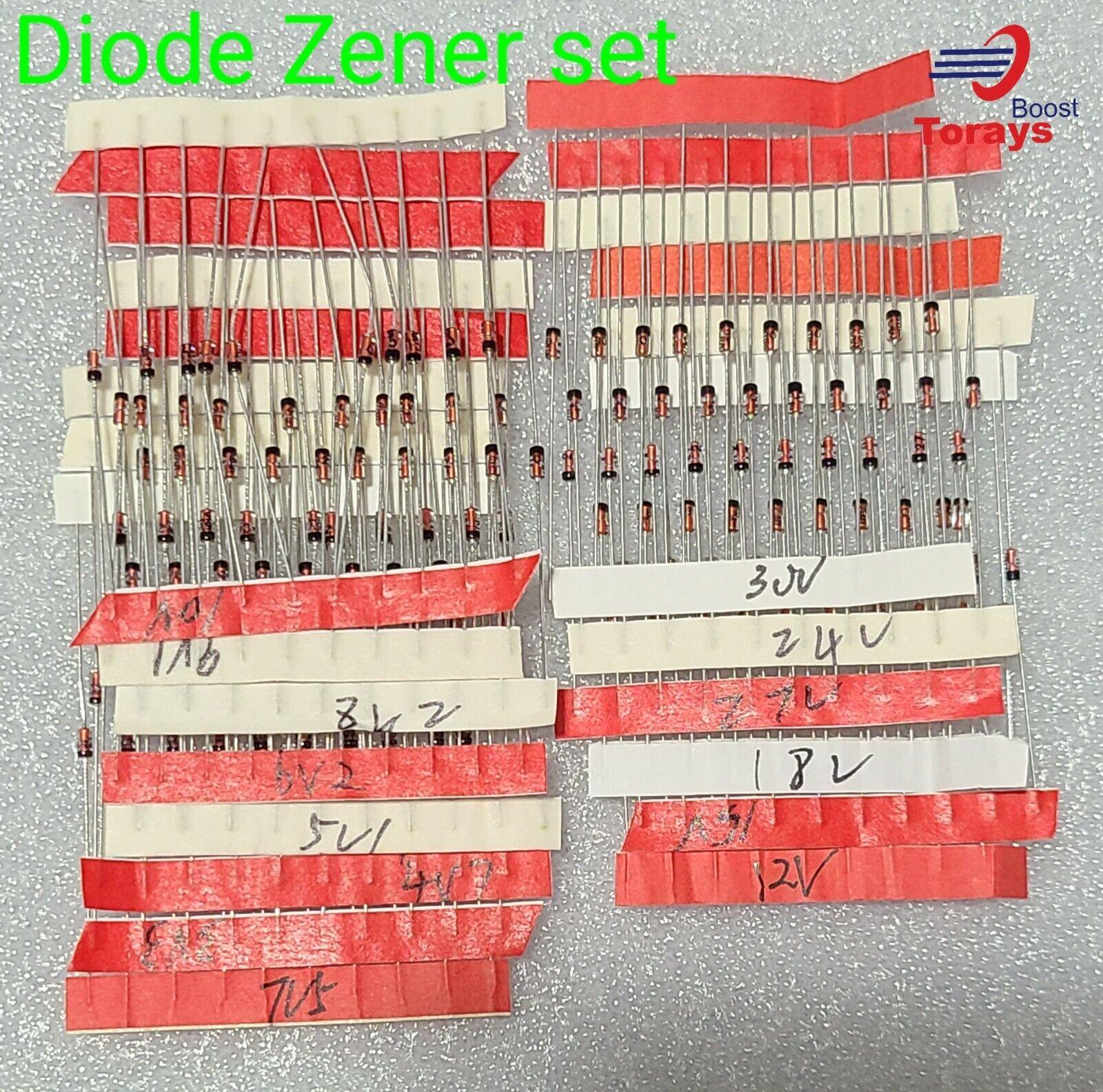 30 Values 1//2W 0.5W Zener Diode Assorted kit Assortment Set 300Pcs 2V – 39V