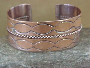 Navajo-Native-American-Jewelry-Hand-Stamped-Copper-Bracelet-Elaine-Tahe