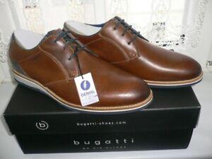Details zu Bugatti Herren Business Schuhe Cognac Leder im Used Look, Hand finish 43 Neu OVP