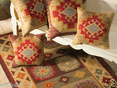 ❤️ Kohra Geometric Wool Cotton Kilim Rug 120cm x 180cm Flat Weave Beige Brown
