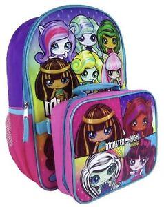 61d536c5f9df Details about Monster High Little Girls School Backpack Lunch Box SET Book  Bag Children Kids