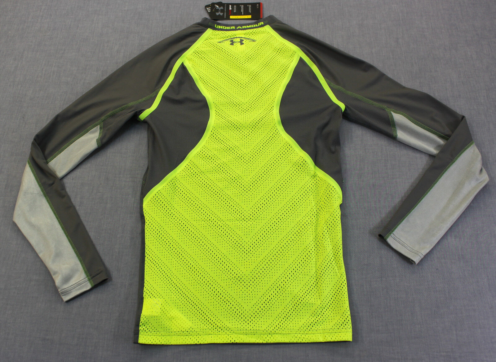 UNDER ARMOUR FOOTBALL Uomo Gris giallo ARMY of Compression 11 Compression of LS SHIRT NWT M  80 3983f7