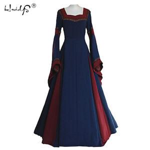 Medieval-Dress-Women-039-s-Vintage-Christmas-Renaissance-Gothic-Costume-Gown-Dress