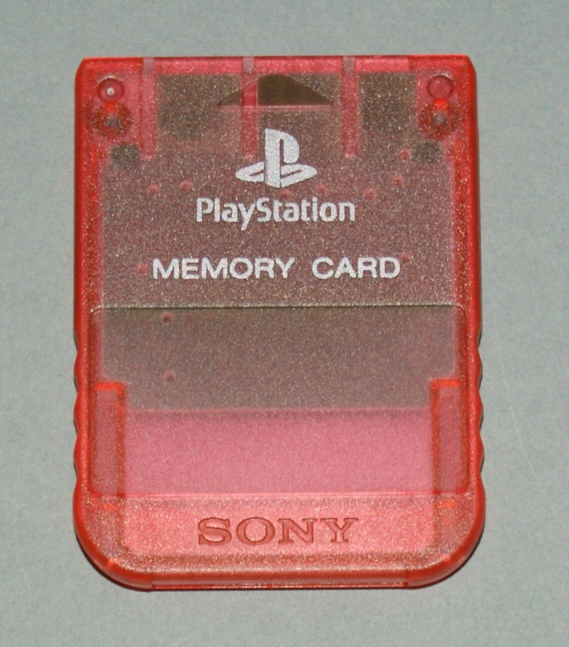 Clear Red Official PS1 Memory Card - Sony PlayStation One Tested SCPH-1020 #1