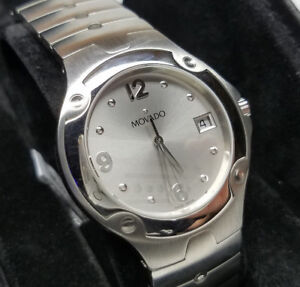 MOVADO SPORTS EDITION MENS STAINLESS STEEL LUXURY WATCH SILVER 0604745 NOS