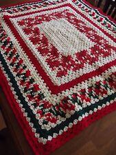"Vintage Afghan GRANNY CHRISTMAS Crochet Quilt Throw Blanket 45""x39"" NICE! square"