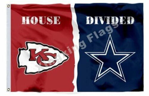 Kansas City Chiefs and Dallas Cowboys Divided Flag 3x5ft