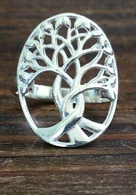 Sterling Silver Oval Tree of Life Ring Size 6, 7, 8 or 9 Gift Boxed