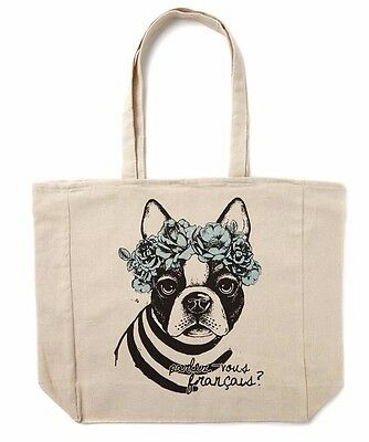 Cotton On frenchie blue flower boston terry dog beige tote eco tote shopping bag