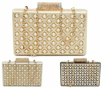 SHU HEAVEN WOMENS CLUTCH BAG GOLD CHAIN PARTY PROM BRIDAL EVENING PURSE HANDBAG