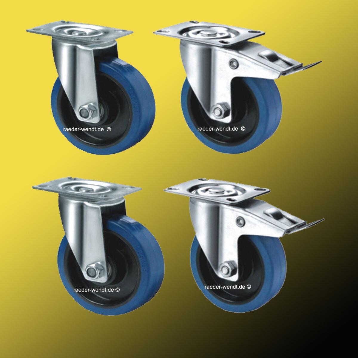 1 Set 2LRF 2LR Elastikrollen ø 200mm Blau Wheels Lenkrollen NEU Frei Haus