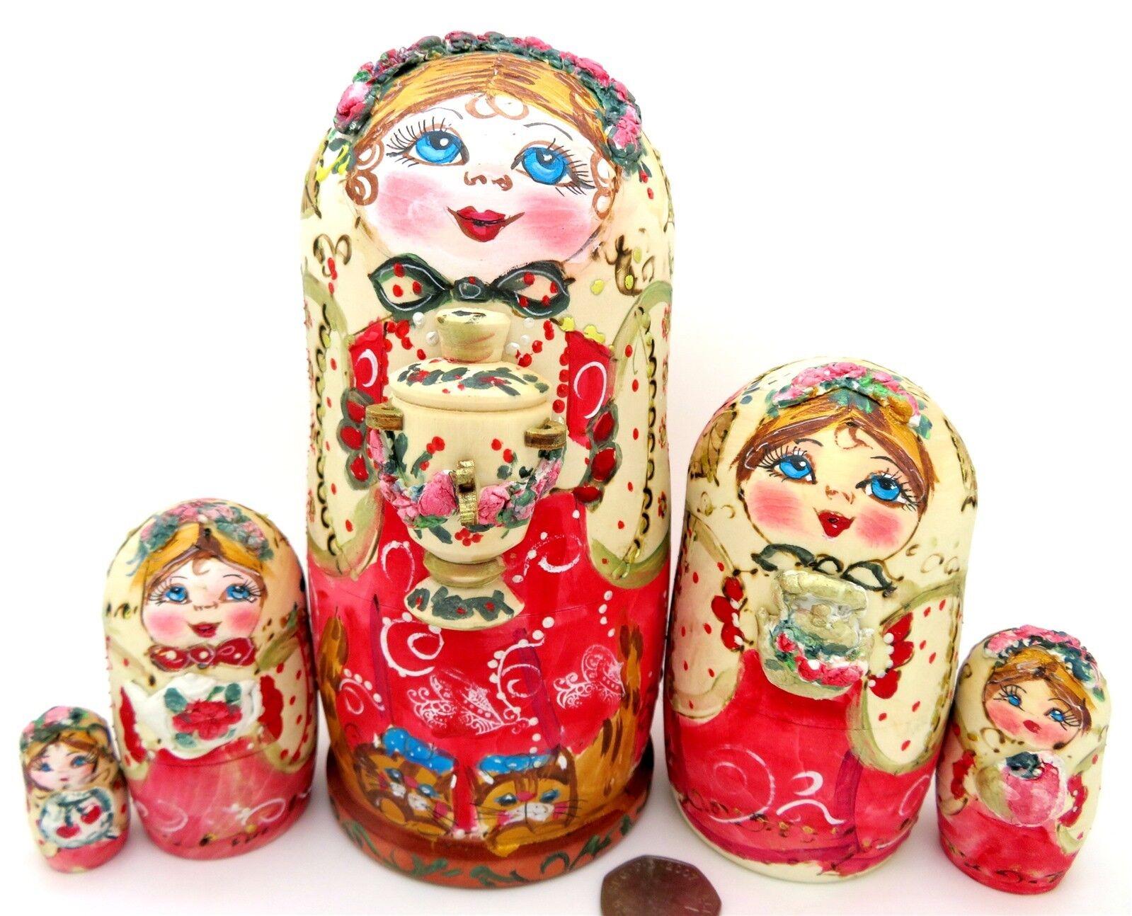 Poupées Gigognes Russes or Rouge Pyrogravure Service à Thé Babushka & Samovar 5