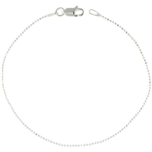 925 Sterling Silver Italian Faceted Pallini Bead Ball Chain Necklaces 1mm