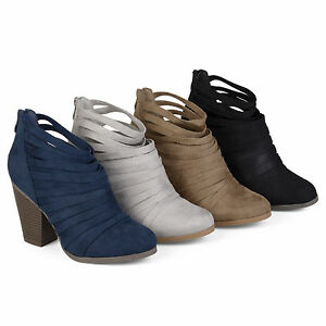 0408513f0d9 Details about Brinley Co Womens Chunky Heel Strappy Faux Suede Ankle  Booties New