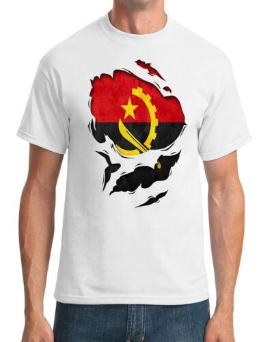 Angola Angolan Ripped Effect Under Shirt Mens T-Shirt