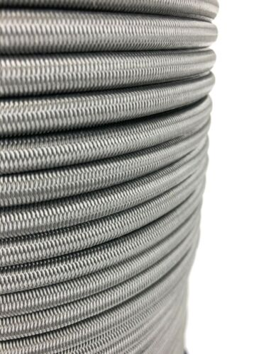 12mm Grey Elastic Bungee Shock Cord Bungee Rope Tie Down Extra Strong