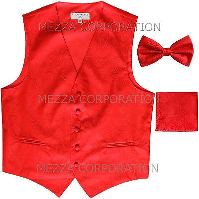 Bowtie /& Hankie set Pink New Men/'s Vesuvio Napoli Paisley Tuxedo Vest Necktie