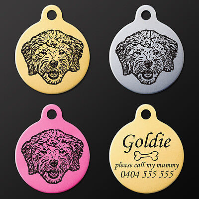 Popular Dog Breeds Pet ID Puppy Name Tag Personalised Engraved Round Aluminium