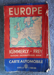 Map Of Europe 1950s.Europe Europa Kummerly Frey Berne Suisse Road Map 1950 S Auto Map