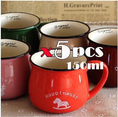 5pcs Cute Vintage Zakka Small Ceramic Tea/Milkcup/Breakfast Coffee Cup Mug 220ml