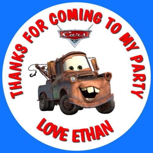 24 Brillo Personalizado De Disney Cars Mater Fiesta De Cumpleaños Bolsa Dulce Pegatinas de cono