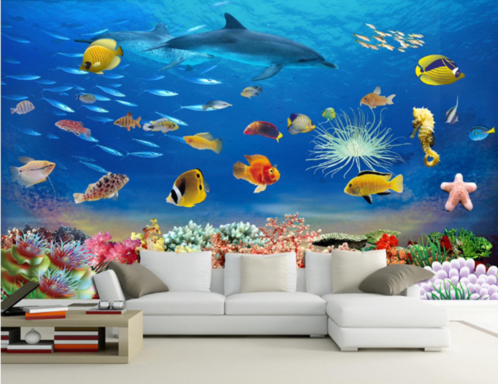 3D Meeresdelphin Fisch 688 Tapete Wandgemälde Tapeten Bild Familie DE Summer