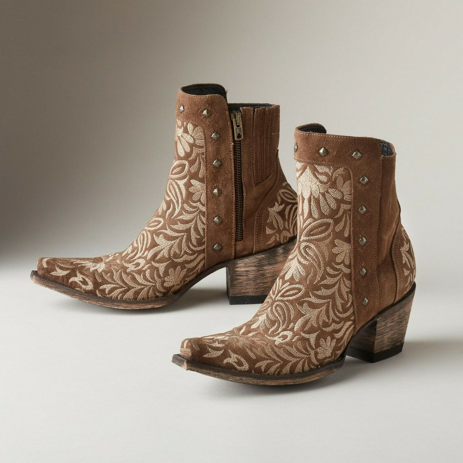 New Old Gringo Women's Wink Jewelry 7  Ankle Western Boots Brown BL 30491-1