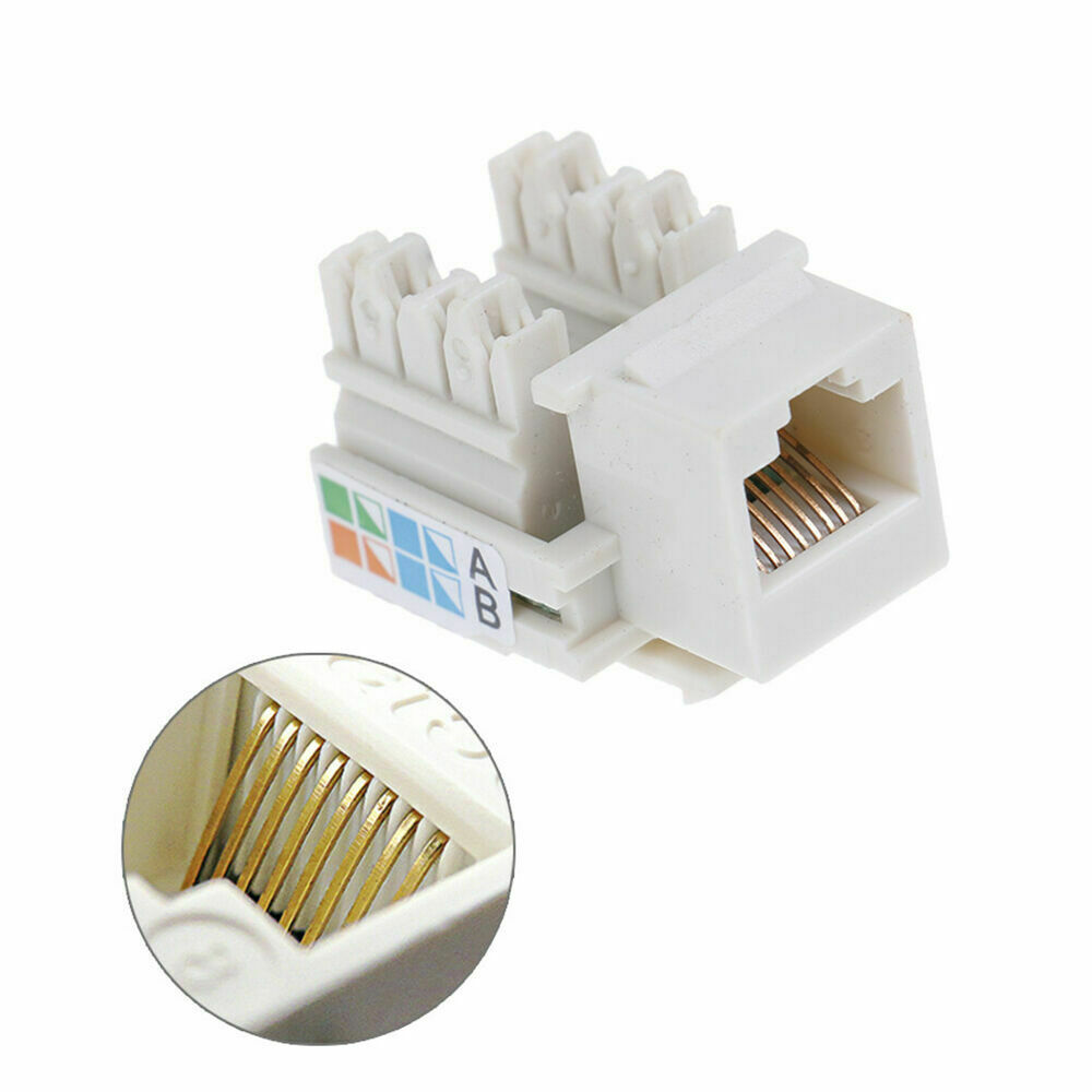 10 X Keystone Jack CAT5e Network Ethernet 110 Style Punch Down 8P8C RJ45 White