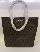 Michael Kors Large Ns Harper Tote Pvc Leather Brown Monogram Shoulder Bag