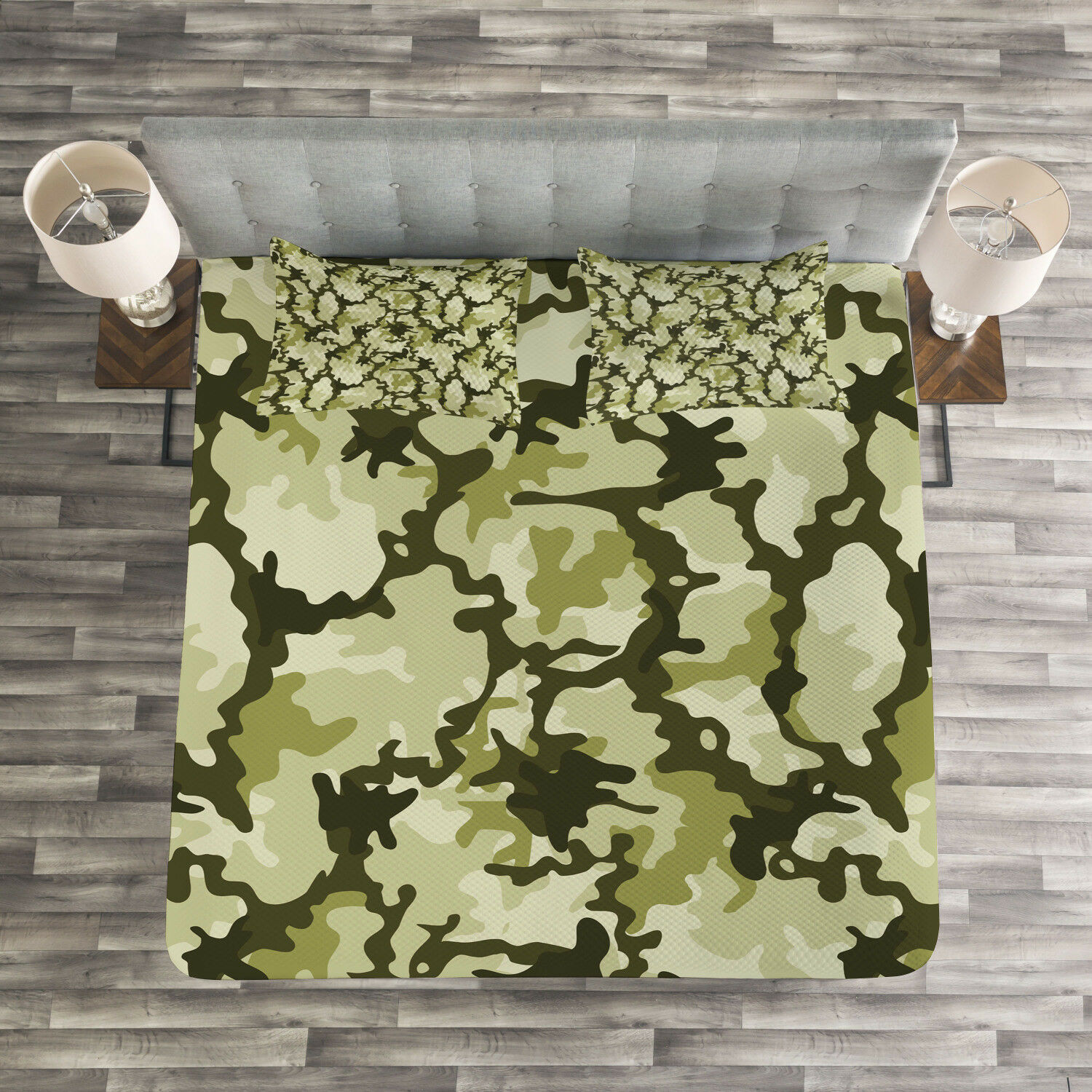 Green Quilted Bedspread & Pillow Shams Set, Jungle Camouflage Design Print