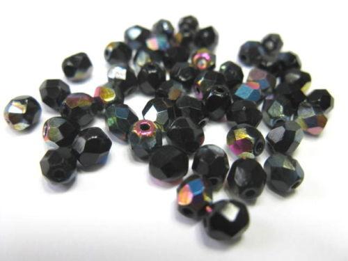 De vidrio esmerilado perlas aproximadamente 4mm negro a partir de 7207 perlas