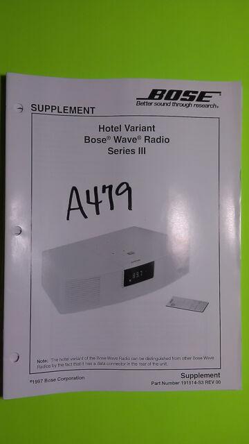 bose wave radio series iii hotel variant service manual original rh ebay com Troubleshooting Bose Wave Radio Bose Radio CD Player Troubleshooting
