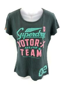 Haut-Femme-Superdry-T-Shirt-Top-M-Medium-Coton-Gris