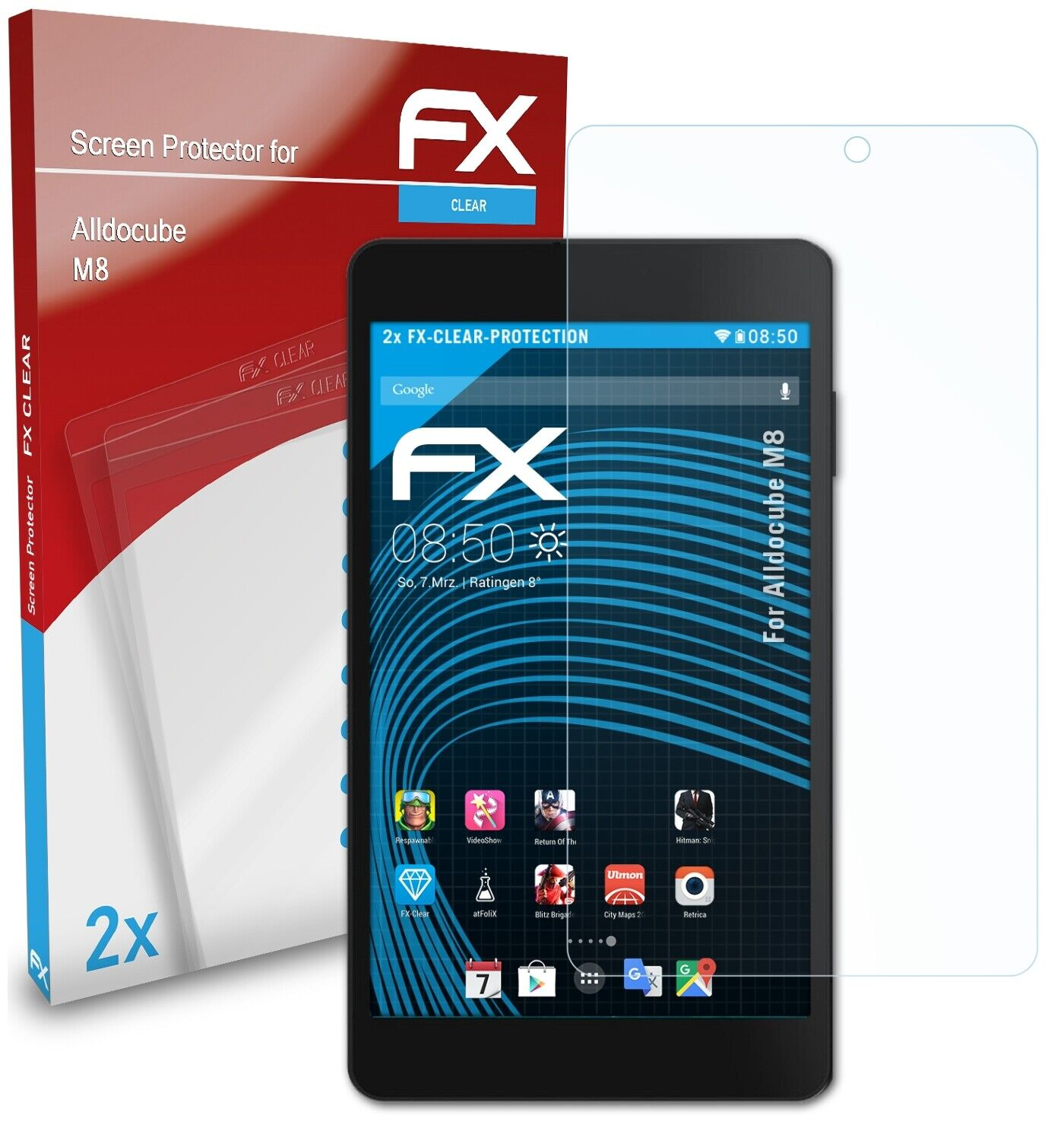 atFoliX 2x Screen Protection Film for Alldocube M8 Screen Protector clear