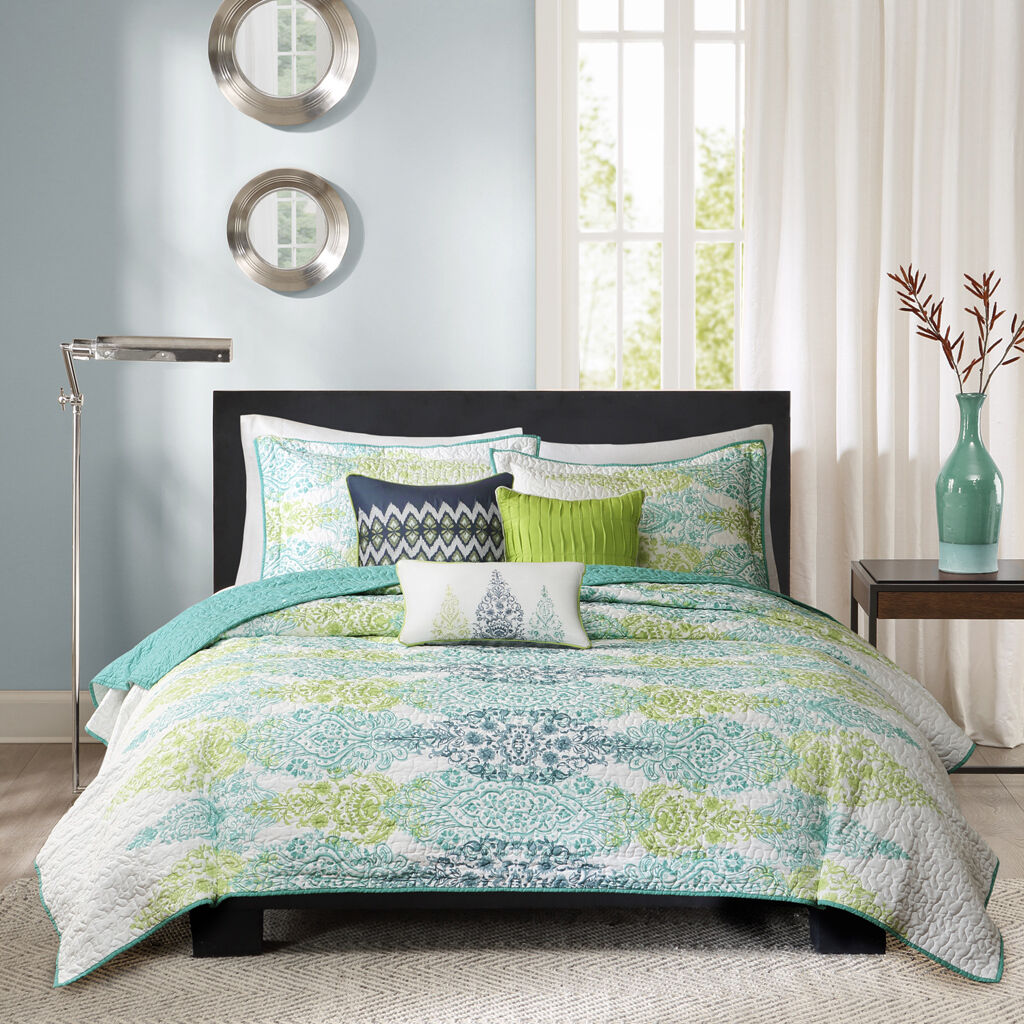 BEAUTIFUL EXOTIC TROPICAL blu TEAL AQUA verde OCEAN BOHEMIAN BEACH QUILT SET