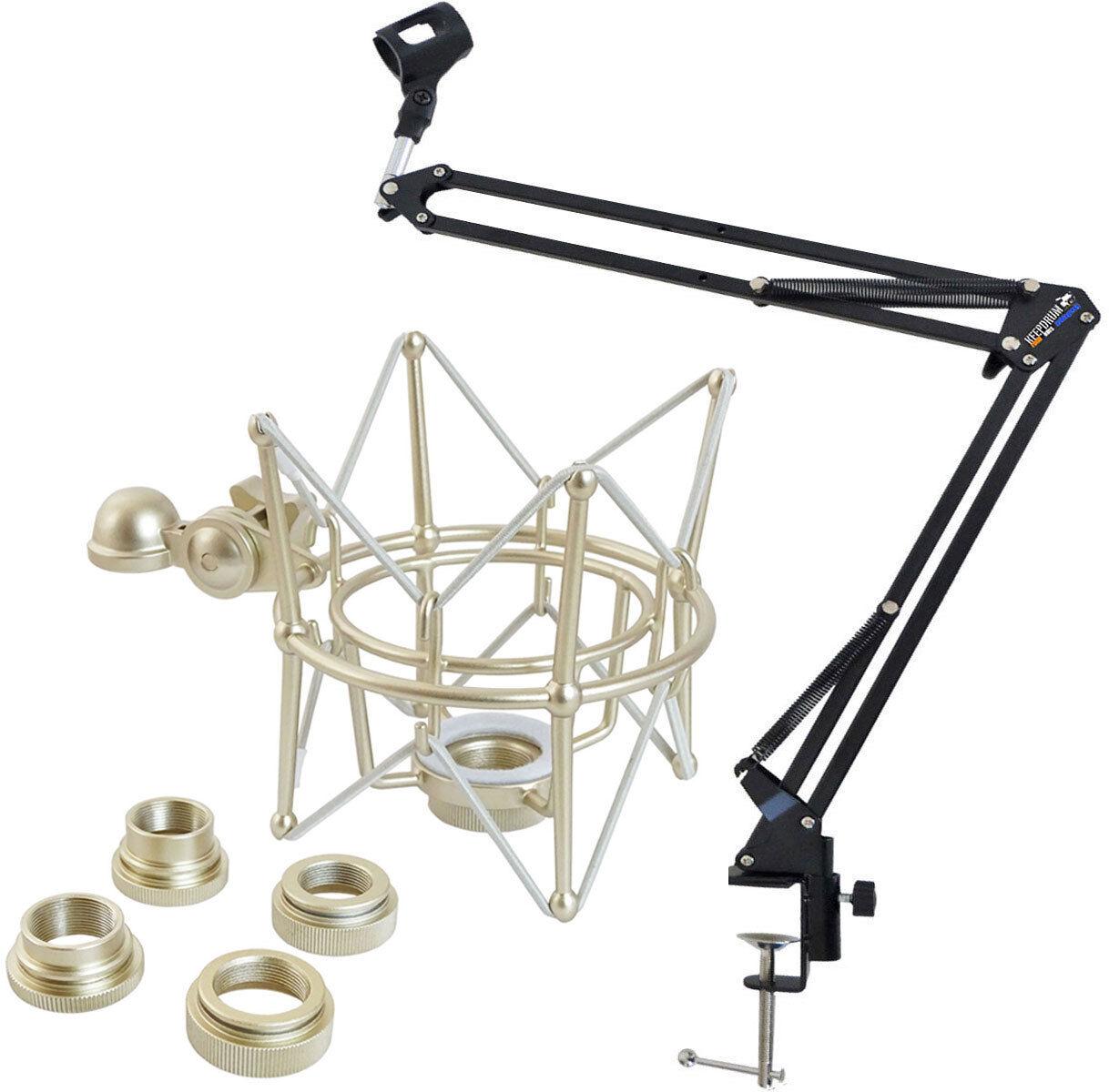 Keepdrum Tisch-Mikrofonarm Gelenkarm-Stativ + Multi-Mikrofonspinne