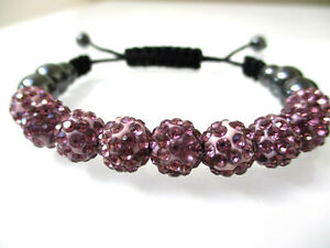Swarovski-Elements-Crystal-Ball-Bead-Adjustable-light-Purple-Bracelet-Hand-Made