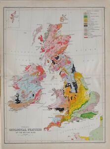 1901 CENSUS MAP BRITISH ISLES GEOLOGICAL FEATURES CHALK COAL SANDSTONE JURRASIC