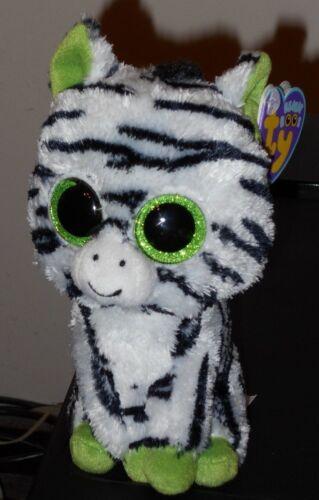 """Purple Tag /& Glitter // Sparkly Eyes MWMT Ty Beanie Boos ~ ZIG-ZAG the Zebra 6/"""""""