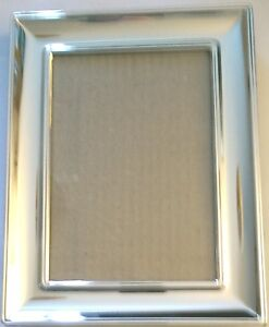 Very-high-quality-Silver-effect-7-034-x-5-034-photo-frame-with-inset-curved-edges