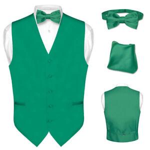 Image Is Loading Men 039 S Dress Vest BOWTie Hanky EMERALD