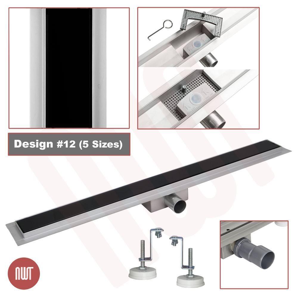 800 mm long Rectangular Glass & Stainless Steel linéaire Wetroom Drain (Design 12)