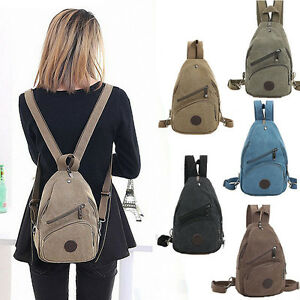 Canvas Convertible Mini Small Sling Backpack Rucksack Chest Pack ...