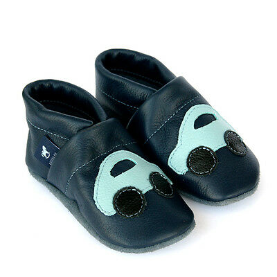 Pantau Leder Krabbelschuhe, Hausschuhe, Lederpuschen, Blau mit hellblauem Auto