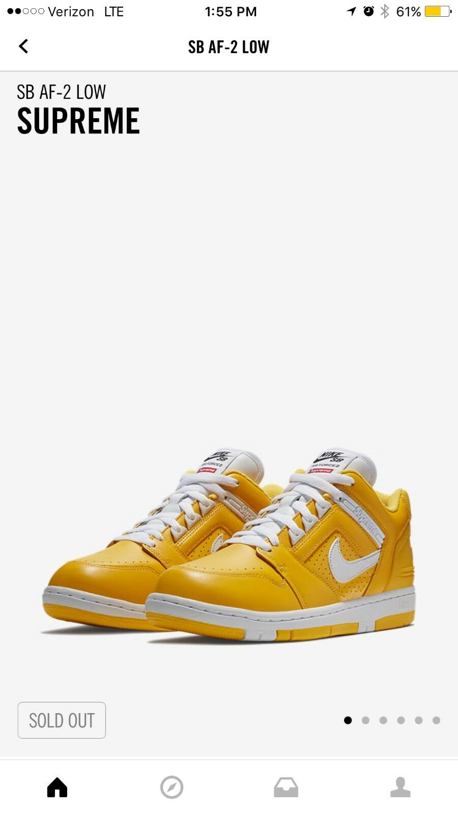 Supreme / Nike SB Air Force 2 YELLOW SIZE 10 *NEW DROP* *FALL 2017* *Confirmed*