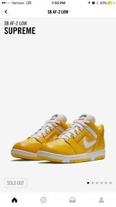 Image is loading Supreme-Nike-SB-Air-Force-2-YELLOW-SIZE-