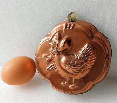 "Vintage copper jelly mould Mother Hen 4.5"" chicken bird mousse or jello mold"