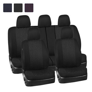 Universal-Car-Seat-Covers-Black-Grey-Dot-Jacquard-Breathable-For-SUV-Truck-Sedan
