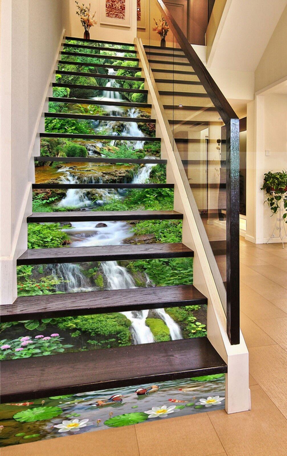 3D Grass River Stair Risers Decoration Photo Mural Vinyl Decal Wallpaper US
