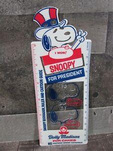 Snoopy for President Ruler Bookmark Cartoon Guide 1972 Dolly Madison Plastic Vtg